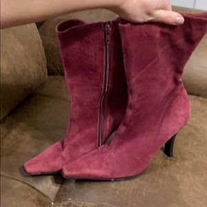 Burgundy suede point toe mid calf boot size 6 1/2
